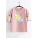 Summer Cartoon Sun Cloud Printed Short Sleeve Loose Casual T-Shirt