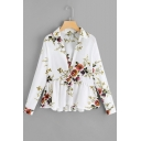 New Fashion Floral Printed Long Sleeve Lapel Collar Plunge V-Neck Ruffle Hem White Chiffon Blouse