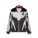 Cosplay Costume Long Sleeve Color Block Zip Up Comic Grey Jacket