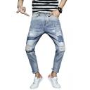 Men's Street Style Fashion Printed Knee Cut Raw Hem Straight Fit Light Blue Ripped Jeans