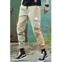 Mens Trendy Street Letter Colorblocked Side Drawstring Waist Loose Casual Cargo Pants