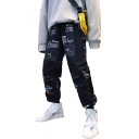 Hip Hop Graphic Printed Drawstring Waist Gathered Cuff Unisex Loose Track Pants