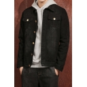 Spring New Fashion Simple Plain Men's Slim Fit Black Workwear Denim Jacket