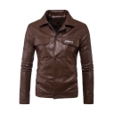 Mens Fashion Letter Embroidered Lapel Long Sleeves Press-Stud Closure PU Jacket