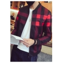 Mens Popular Plaid Printed Long Sleeve Stand Collar Zip Up Slim Jacket