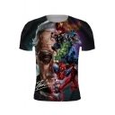 Comic Figure Printed Short Sleeve Basic T-Shirt