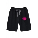 Summer Fashion Letter Heart Printed Drawstring Waist Breathable Cotton Running Sweat Shorts