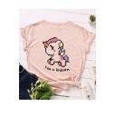 Girls Summer Cartoon Letter Unicorn Pattern Short Sleeve Round Neck Casual Cotton T-Shirt