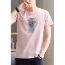 Summer Simple Geometric Letter Pattern Short Sleeve Sport Casual T-Shirt