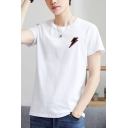 Summer Fashion Simple Flash Logo Printed Short Sleeve Fitted T-Shirt for Guys
