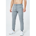 Mens Simple PLain Comfortable Cotton Drawstring-Waist Pleated Jogger Pants Sweatpants