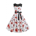 Women's Trendy Vintage Lace Panel Allover Floral Print White Sleeveless Bow-Tied Waist Midi A-Line Flare Dress