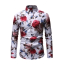 Mens Unique Allover Rose Pattern Long Sleeve Casual Button-Up Shirt