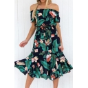 Boho Style Off the Shoulder Short Sleeve Floral Tropical Print Tied Waist Green Midi A-Line Beach Dress