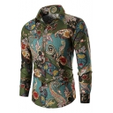 Popular Retro Tribal Printed Men's Button-Front Long Sleeve Fitted Shirt