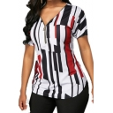 Fashion Colorblock Striped Printed Zipper Front Short Sleeve T-Shirt