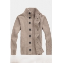 New Fashion Simple Plain Stand Collar Button Down Warm Thick Cardigan for Men