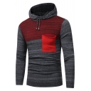New Trendy Colorblock One Pocket Patched Drawstring Hooded Slim Knit Sweater for Men