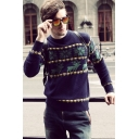 Fashionable Men's Jacquard Deer Print Crewneck Long Sleeve Pullover Sweater