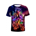 3D Figure Printed Short Sleeve Round Neck Summer T-Shirt