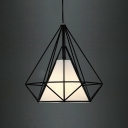 Diamond Cage LED Pendant Light in Black