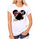 New Stylish Floral Pattern Round Neck Short Sleeve White T-Shirt