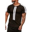 Mens Fashion Stripes Printed Round Neck Short Sleeve Sports Leisure T-Shirt
