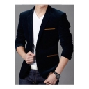 Men's Trendy Notched Lapel Single Button Long Sleeves Split Back Slim-Fit Corduroy Blazer