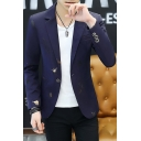Men's Stylish Bronzing Leaves Print Slim Fit Long Sleeve Single Button Casual Suits Blazer