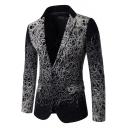 Unique Printed Long Sleeve Notched Lapel Collar Single Button Casual Mens Black Blazer Suit