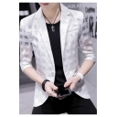 Breathable Three-Quarter Sleeve Notch Lapel Single Button Slim Fit Mesh Blazer Jacket for Men