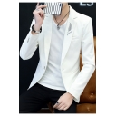 Trendy Feather Letter Embroidered Long Sleeve Notched Lapel Collar Single Button Mens Suit Jacket