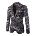 Trendy Camouflaged Pattern Notched Lapel Long Sleeves Single Button Slim Cotton Blazer with Pockets
