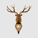 Antique Gold Sconce with Deer/Horse Decoration 1 Light Clear Crystal Wall Light for Living Room
