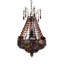 Vintage Barn Ceiling Light Single Light Metal Pendant Lamp with Colorful Crystal Decoration