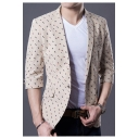 Allover Printed Three-Quarter Sleeve Notched Lapel Single Button Slim Fit Blazer Jacket for Men
