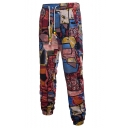 Retro Ethnic Style Printed Drawstring Waist Casual Linen Pants for Men