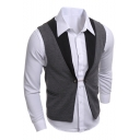 Men's Colorblocked Double Button Chain Embellished Grey Slim Fake Two-Piece Suit Vest