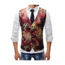 New Trendy Retro Floral Printed Single Breasted Buckle Back Red Slim Fit Suit Vest