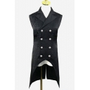Vintage Floral Jacquard Lapel Collar Double Breasted Open Hem Longline Tuxedo Vest for Men