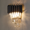 Dining Room Wall Light Fixture 1/2 Lights Clear Crystal and Metal Traditional Black Wall Sconce
