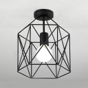 Metal Cage Ceiling Light One Light Industrial Flush Mount Light in Black for Kitchen