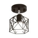 Black Cage Semi Flush Light Kitchen 1 Light Industrial Ceiling Flush Mount Light