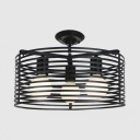 Drum/Globe/Star Semi Flush Mount Light Metal 3 Light Industrial Lighting Fixture in Black