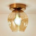 Amber Glass Bubble Lighting Fixture Single Bulb Modernism Semi Flush Mount