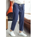 Guys Fashion Classic Plain Drawstring Waist Cotton and Linen Casual Straight Trousers