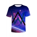 New Trendy Unique Double W Logo Galaxy Printed Short Sleeve Blue T-Shirt