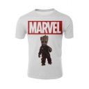 Guardians of the Galaxy Groot Figure Pattern Short Sleeve White T-Shirt