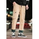 Guys New Stylish Colorblock Rolled Hem Straight Fit Cargo Trousers