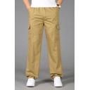 Mens Elastic Waist Flap Pocket Side Simple Plain Cotton Straight Fit Cargo Trousers